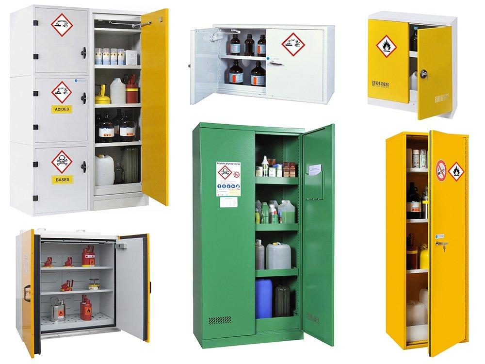 Armoires pour inflammables, phytosanitaires, corrosifs et autres produits chimiques