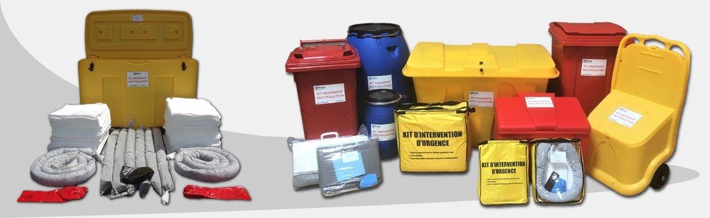 Large choix de kits absorbants hydrocarbures, tous liquides et produits chimiques